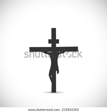 Silhouette illustration of Jesus on a cross isolated on a white background. - stock vector
