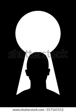 Silhouette illustration of man head and keyhole