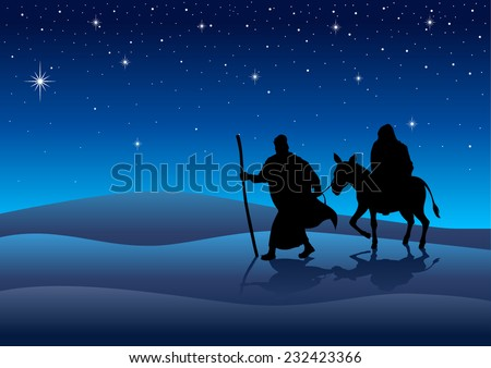 Silhouette illustration of Mary and Joseph, journey to Bethlehem, for Christmas theme - stock vector