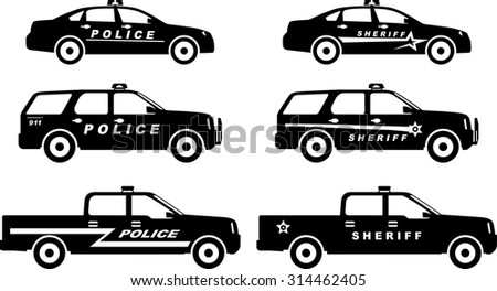 Silhouette Illustration Police Sheriff Cars Isolated Stock Vector