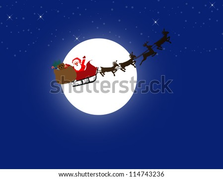 Silhouette illustration of Santa Claus and his sleigh on the moon and night sky background, vector illustration - stock vector