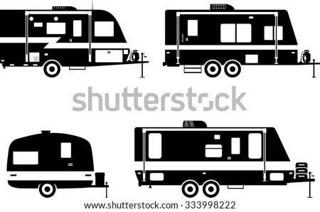 Silhouette Illustration Of Travel Trailer Caravans On A White Background