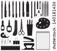 Silhouette image of different stationery - stock photo
