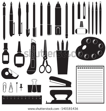 Silhouette image of different stationery - stock vector