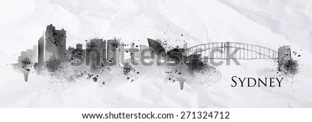 Silhouette ink Sydney city painted with splashes of ink drops streaks landmarks drawing in black ink on crumpled paper. - stock vector