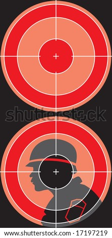 silhouette is visible through a sniper sight (vector) - stock vector
