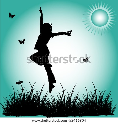 Silhouette leap child - stock vector
