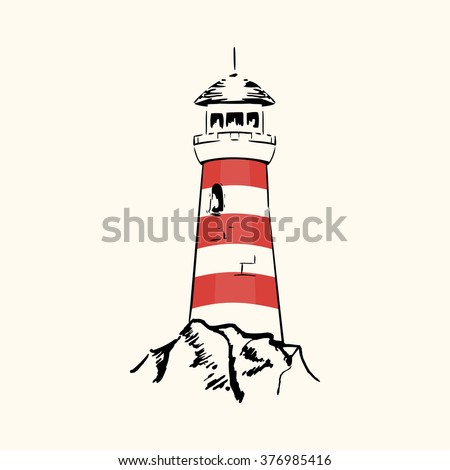 Silhouette lighthouse on a light background  - stock vector