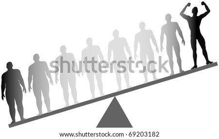 Silhouette man celebrates dieting and exercise from fat to fitness in before and after series on a scale - stock vector