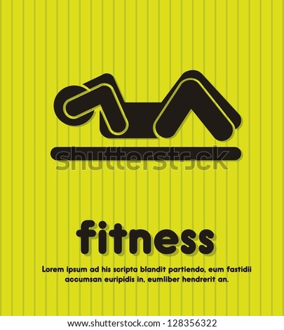 silhouette man over green background, fitness. vector illustration - stock vector