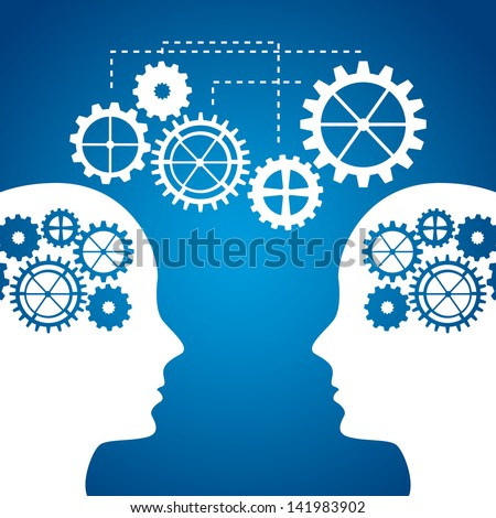 silhouette man with gears over blue background. vector illustration