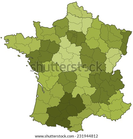 Silhouette map of the France with regions and departments. All objects are independent and fully editable.  - stock vector