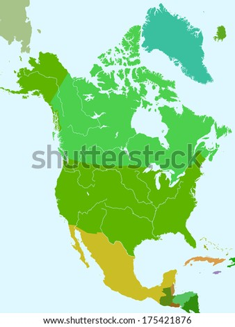 Silhouette map of the North America countries with major rivers and lakes. All objects are independent and fully editable  - stock vector