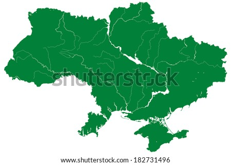 Silhouette map of the Ukraine