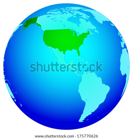 Silhouette map of the USA on the globe. All objects are independent and fully editable.   - stock vector