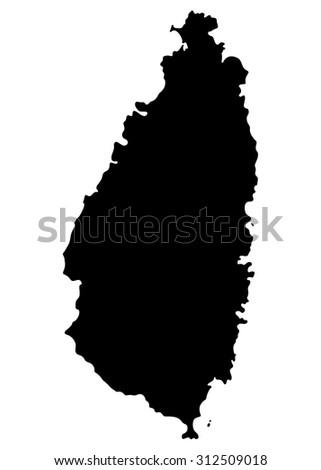 Silhouette Map Saint Lucia North America Stock Vector 312509018