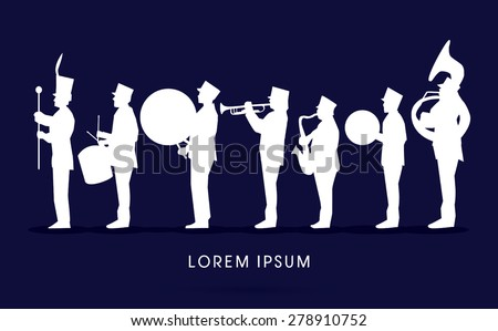 Silhouette Marching Band, parade, graphic vector. - stock vector