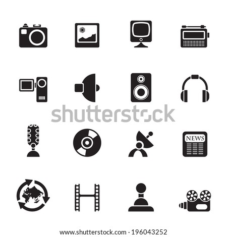 Silhouette Media and household  equipment icons - vector icon set