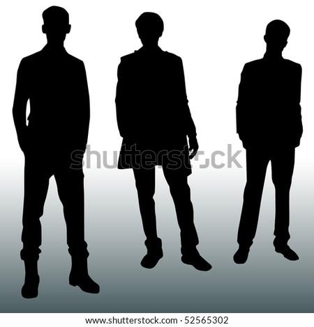 Silhouette men - stock vector