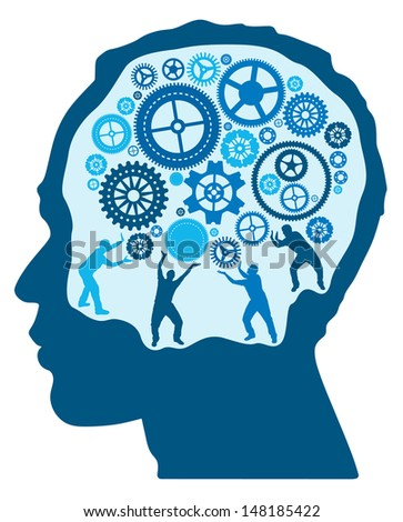 Silhouette Men turning and Pushing Cogs in the Brain  - stock vector