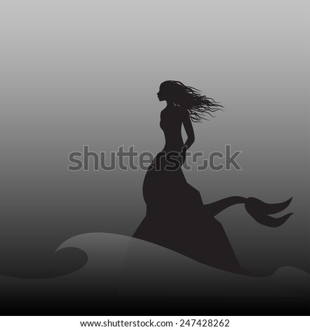 silhouette mermaid sitting on the edge of the cliff  in storm sea, shadows, - stock vector