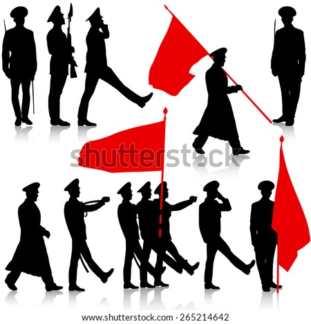 Silhouette  military people  with flags collection.  Vector illustration. - stock vector