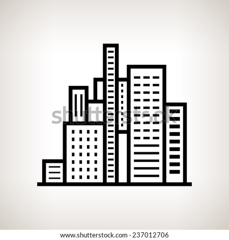 Buildings Business Center On A Light Background Black And White