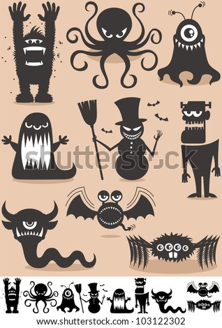 Silhouette Monsters: Set of 9 cartoon monsters. No transparency and gradients used. - stock vector