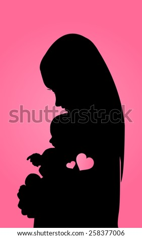Silhouette mother with baby - stock vector