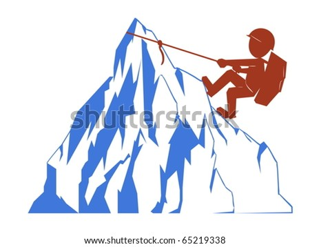 Silhouette mount climber with blue rock - stock vector