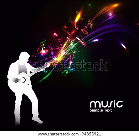 silhouette music men play a guitar with color wave line background, Vector Illustration - stock vector