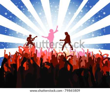 silhouette musical concert with the solemn background 3, vector - stock vector