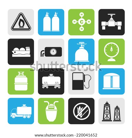 Silhouette Natural gas objects and icons - vector icon set - stock vector