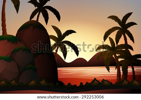 Silhouette ocean view with palm trees and rocks