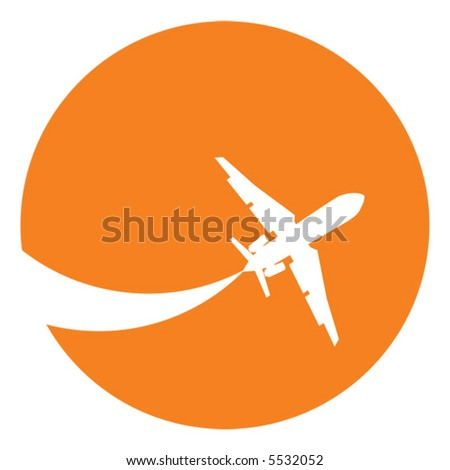Silhouette of a aeroplane at sunset - stock vector
