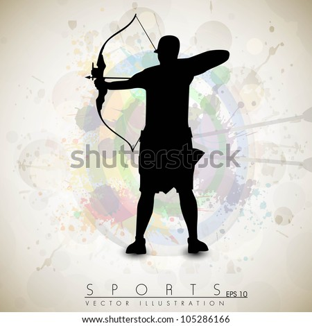 Silhouette of a archer aiming target on grungy archer sport background. EPS 10. - stock vector