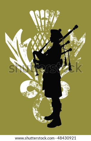 Silhouette of a bagpiper wearing a scottish kilt - stock vector