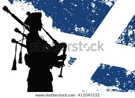 Silhouette of a bagpiper with Scottish flag on the background  - stock vector
