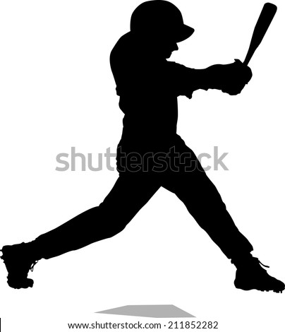 Silhouette of a baseball player getting a home run.