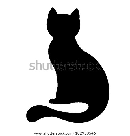 silhouette of a black cat, vector illustration - stock vector