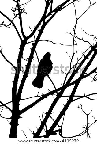 silhouette of a black crow sitting in a tree - stock vector