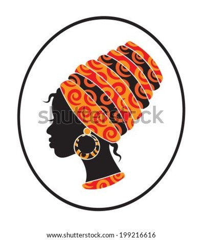 silhouette of a black woman with a kerchief on her head - stock vector