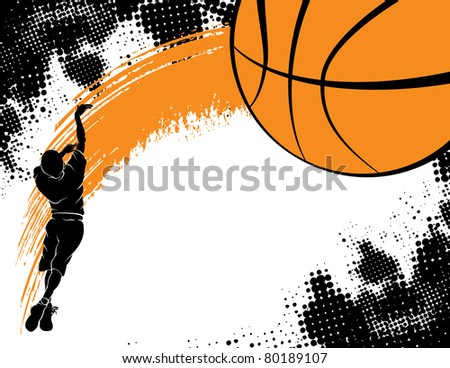 Silhouette of a Boy Shooting Over a Grunge Basketball Background - stock vector