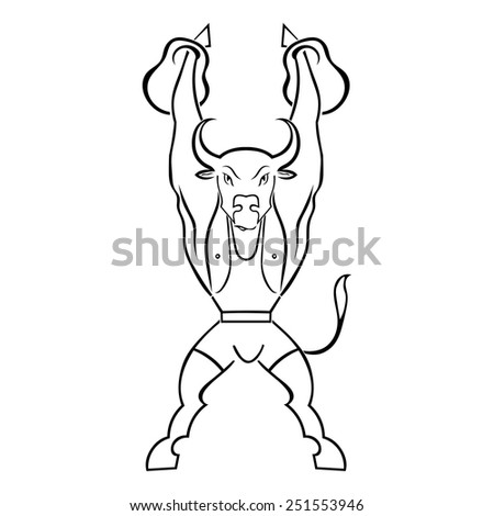 Silhouette of a bull athlete with weights isolated on white background. Bodybuilder. Vector illustration. - stock vector