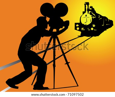 silhouette of a cameraman filming a train on an orange background - stock vector