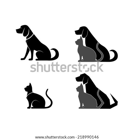 silhouette of a cat and dog for your design - stock vector