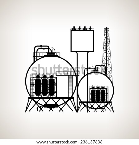 Silhouette of a chemical plant or refinery processing of natural resources, or a plant for the manufacture of products  on a light background. Chemical factory  for industrial and technology design - stock vector