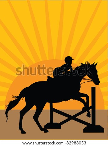 Silhouette of a child jumping a horse against an orange sunset background - stock vector