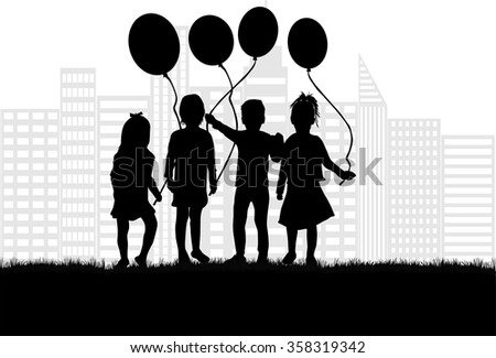 Silhouette of a child with a balloon