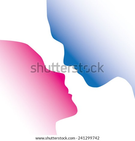 Silhouette of a couple facing each other in love kiss. On White background - stock vector